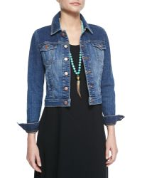 Eileen Fisher Denim Cropped Jacket - Lyst