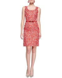 Oscar de la Renta Printed Silk-Blend Dress - Lyst
