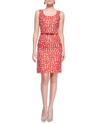 Oscar de la Renta Square-Print Sheath Dress - Lyst