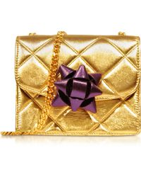 Marc Jacobs Quilted Gold Laminate Wparty Bow Mini Trouble Shoulder Bag - Lyst