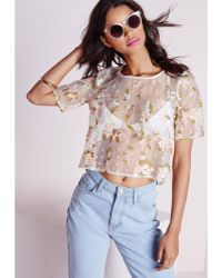 Missguided Raezel Floral Print Cropped Shell Top - Lyst