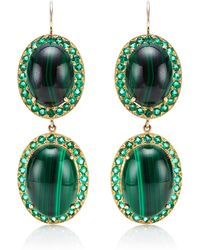 Andrea Fohrman Oval Malachite Earrings - Lyst