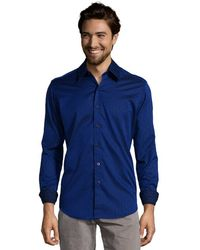 Robert Graham Royal Blue Pattern Cotton Whitehorse Button Front Shirt - Lyst
