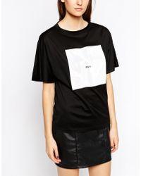 Back by Ann-Sofie Back - Back By Ann Sofie Huge Logo Patch Short Sleeve T-Shirt - Lyst