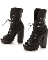 Vic Matie' Promoteo Atlande Lace Up Booties Black - Lyst