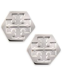 Tory Burch Hexagon Logo Stud Earrings Stainless Steel Silver - Lyst