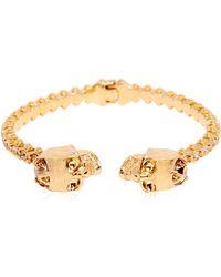Alexander McQueen Twin Skull Swarovski & Brass Bracelet - Lyst