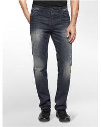 Calvin Klein | Jeans Slim Straight Leg Worn Metal Wash Jeans | Lyst