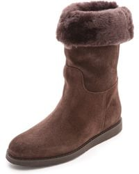 Ferragamo My Ease Shearling Boots Cacao - Lyst