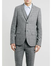 Topman Grey Geometric Texture Skinny Suit Jacket - Lyst