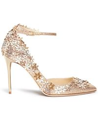 Jimmy Choo | 'lorelai' Leather Flower Glitter D'orsay Pumps | Lyst
