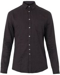 John Varvatos Washedlinen Black Shirt - Lyst