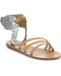 Ancient Greek Sandals Ikaria Glitter Leather Winged Sandals silver - Lyst