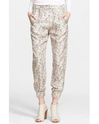 Rag & Bone 'Alfred' Abstract Print Silk Pants pink - Lyst