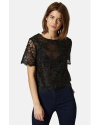Topshop Lace Overlay Tee black - Lyst