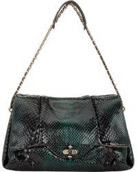 Zagliani - Python Giulia Shoulder Bag-Green - Lyst