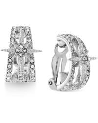 Vince Camuto - Rhodium-plated Crystal Starburst Clip-on Earrings - Lyst