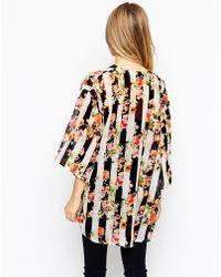 Girls On Film - Kimono In Floral Stripe - Lyst