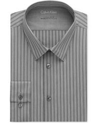 Calvin Klein X Extra Slim-Fit Stretch Coal Stripe Dress Shirt - Lyst