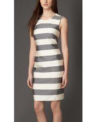 Burberry Striped Silk Blend Dress - Lyst