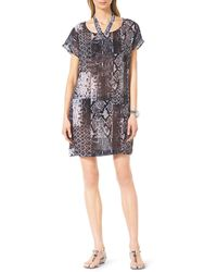 Michael by Michael Kors Snakeprint Coverup Dress Black Small - Lyst