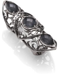 Stephen Webster Grey Cat'S Eye Doublet & Sterling Silver Knuckle Ring - Lyst