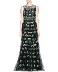 Valentino 'Primavera' Floral Embroidery Tulle Gown black - Lyst