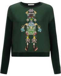 Mary Katrantzou Knipi Sweater Ls Tikki Man Green - Lyst