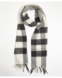 Burberry Ivory and Grey Mega Check Cashmere Fringe Scarf - Lyst