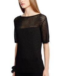 Ralph Lauren Black Label Open-knit-yoke Boatneck Top - Lyst