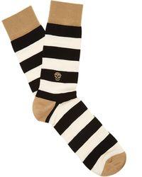 Alexander McQueen - Striped Cotton And Silk-blend Socks - Lyst