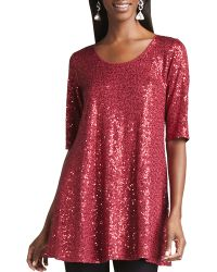 Eileen Fisher Long Sequined Tunic - Lyst