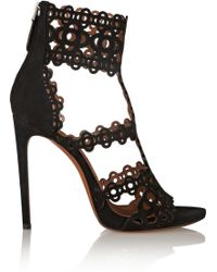 Alaïa Laser-Cut Suede Sandals black - Lyst