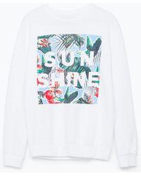 Zara Sweatshirt floral - Lyst