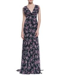 Zac Zac Posen Floral-print Flutter-sleeve Gown - Lyst