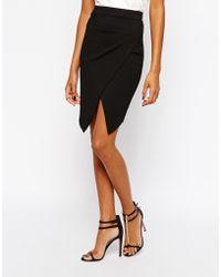 TFNC Pencil Skirt With Asymmetric Hem - Lyst