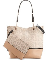 Calvin Klein Jacquard Unlined Tote brown - Lyst