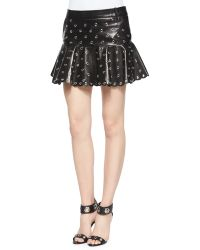 RED Valentino Leather Flounce Skirt With Eyelets - Lyst