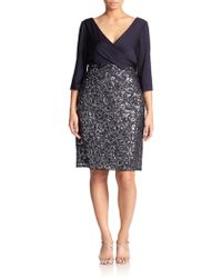 Kay Unger Jersey & Sequin Lace Combo Dress - Lyst