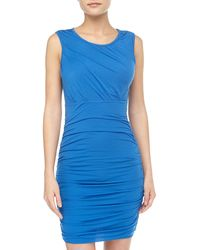 Diane Von Furstenberg Angelina Short Sleeve Ruched Dress  - Lyst
