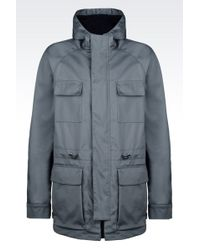 Armani Casual Pea Coat In Cotton With Hood - Lyst