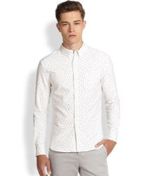 Band Of Outsiders Cotton Pin Dot Sportshirt - Lyst