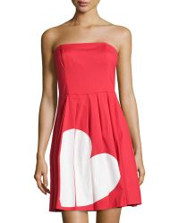 Love Moschino Sleeveless Heart Broken Graphic Dress - Lyst