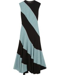 Jonathan Saunders Football Striped Wool and Stretchwoven Midi Dress - Lyst
