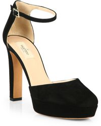 Valentino Suede Ankle-Strap Pumps - Lyst