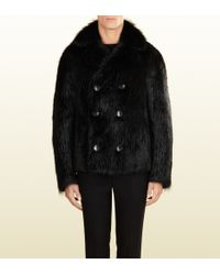 Gucci Double-breasted Fur Coat - Lyst