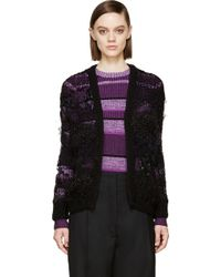 Rodarte Black Textured Open_knit Cardigan - Lyst