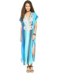 Twelfth Street Cynthia Vincent - Embroidered Caftan Tie Dye Stripes - Lyst