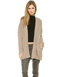 DKNY Pure Open Cardigan Oatmeal Heather - Lyst