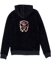 Guess - Velvet Zip-Up Jumper - Lyst
